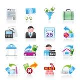 Belastingen, bedrijfs en financiënpictogrammen Stock Foto's