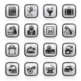 Belastingen, bedrijfs en financiënpictogrammen Stock Afbeelding