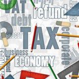 Belastings financiële bedrijfsachtergrond Royalty-vrije Stock Foto