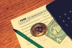 Belastingsdag Bitcoin 1 Stock Afbeelding