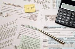 Belastingsvorm 1040, U S Individuele inkomensbelastingaangifte Stock Foto