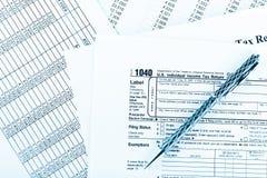 Belastingsvorm 1040 voor de individuele belastingaangifte van de V.S. Royalty-vrije Stock Afbeeldingen