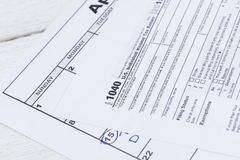 1040 belastingsvorm Vorm van de het Inkomensbelastingaangifte van de V.S. de Individuele Stock Foto's