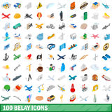 100 belay icons set, isometric 3d style Royalty Free Stock Image