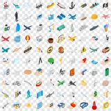 100 belay icons set, isometric 3d style Royalty Free Stock Photography