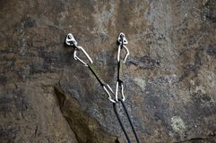 Belay Station. Rock climbing anchors Stock Images