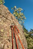 Belay station anchor prepared for abseiling the climbing wall. Safe belay station anchor prepared for abseiling the climbing wall royalty free stock image
