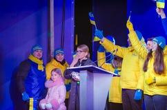 Belaya Tserkov, Ucrânia, o 8 de fevereiro de 2019: O desempenho do candidato nos presidentes de Ucrânia Yulia Tymoshenko fotos de stock