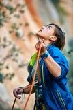 Belayer com a corda Imagem de Stock Royalty Free