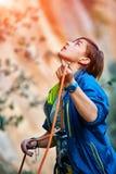 Belayer com a corda Fotos de Stock Royalty Free