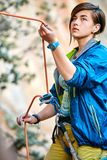 Belayer with the rope Royalty Free Stock Photo
