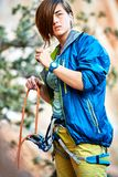 Belayer with the rope Royalty Free Stock Images