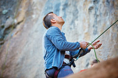 Belayer with the rope Stock Photo