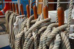 Belaying Pins, Secured Lines, Sailboat Stock Photo