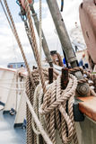 Belayingl pins on a tall ship Royalty Free Stock Photos