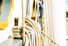 Belayingl pins on a tall ship Stock Image