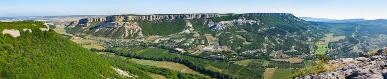 Belbek Canyon, panoramic view from Burun Kaya Royalty Free Stock Images