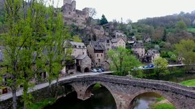Belcastel: Castle and Village, Aveyron department, South France  stock footage
