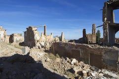 Belchite démoli par village Photo libre de droits