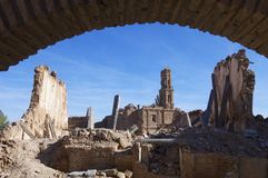 Belchite demolido aldea Foto de archivo libre de regalías