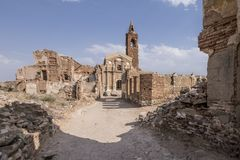 Belchite. Is a municipality of the province of Zaragoza, Spain. It is known for having been a scene of one of the symbolic battles of the Spanish Civil war, `s Stock Photography