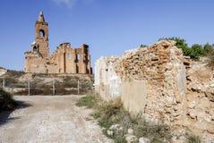 Belchite by som förstörs i en bombning under den spanska inbördeskriget Arkivbilder