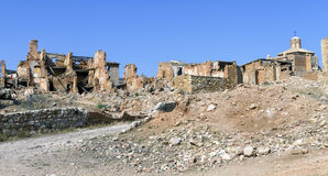 Belchite village destroyed in a bombing Royalty Free Stock Images