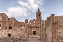 Belchite village destroyed by the bombing of the civil war in Spain Royalty Free Stock Photography