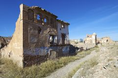 Belchite. Village destroyed in a bombing during the Spanish Civil War, Saragossa, Aragon, Spain Royalty Free Stock Photos