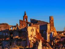 Belchite village war ruins in Aragon Spain at dusk Stock Images