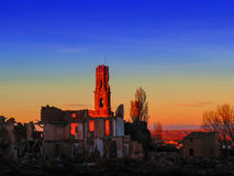Belchite village war ruins in Aragon Spain at dusk. Belchite village war ruins in Aragon Spain Royalty Free Stock Photos
