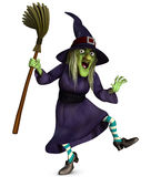Beldame with broom. Dancing witch with a broom Royalty Free Stock Photo