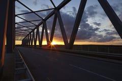 Beldorf - γέφυρα Gruenental στο ηλιοβασίλεμα Στοκ Εικόνα