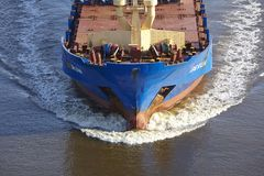 Beldorf - Bulbous bow of vessel at Kiel Canal Royalty Free Stock Photos