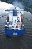 Beldorf - Exhaust fumes of container vessel at Kiel Canal Stock Image