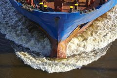 Beldorf (Germany) - Bow of a vessel at Kiel Canal (retouched) Stock Photography