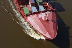 Beldorf (Germany) - Container vessel at Kiel Canal (retouched) Royalty Free Stock Images