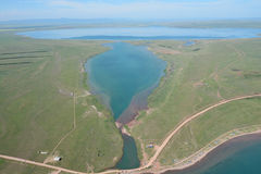 Bele Lake in the steppe of Khakassia bird's-eye view Stock Photos