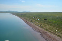 Bele Lake in the steppe of Khakassia bird's-eye view Royalty Free Stock Images