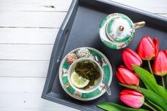 Beleben grüner Tee Stockbild