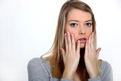 Beledigde vrouw Stock Foto