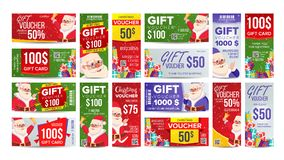 Beleg-Geschenk-Design-Vektor Gesetzter horizontaler vertikaler Rabatt Frohe Weihnachten Weihnachtsmann und Geschenke Winter Lizenzfreies Stockbild
