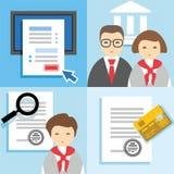 Beleggen, Financiën die, kredietaanvraagformulier, managers, kaarten uitgeven, kleurt vlakke illustraties, pictogrammen Royalty-vrije Stock Foto's