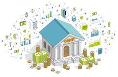 Beleggend themabeeldverhaal, de bankbouw met dollars en muntstukstapel vector illustratie