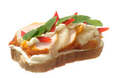 Belegtes Brot mit Hühnerfleisch Lizenzfreie Stockfotos