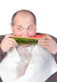 Beleibte Fleisch fressende Wassermelone Stockfoto