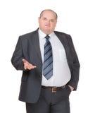 Beleibter Geschäftsmann, der einen Punkt macht Lizenzfreies Stockbild
