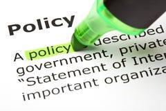 ?Beleid? dat in groen wordt benadrukt Stock Foto