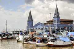 Belem: boats on the river Guama Royalty Free Stock Photography