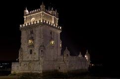 Belem-Kontrollturm bis zum Nacht stockfotos